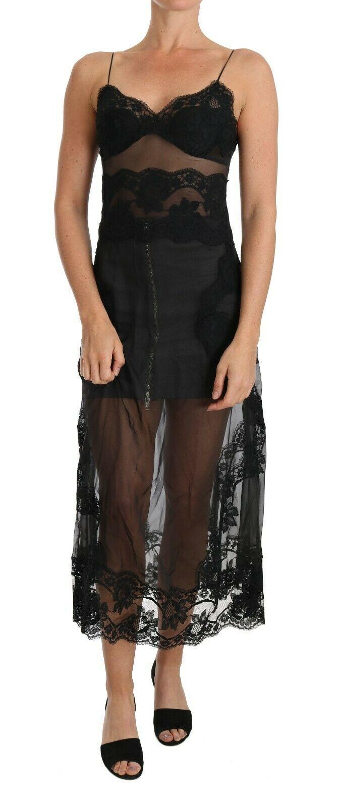 Dolce & Gabbana Women's Silk Lace Chemise Dress Black BIK100 - IT1   XS