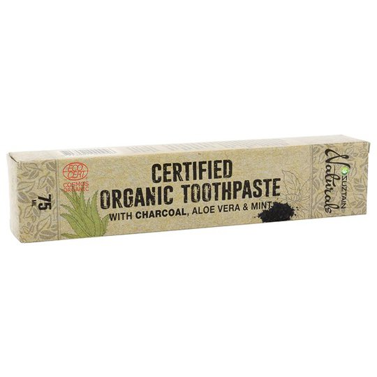 Suztain Ekologisk Fluortandkräm med Aktivt Kol, Aloe Vera & Mint, 75 ml