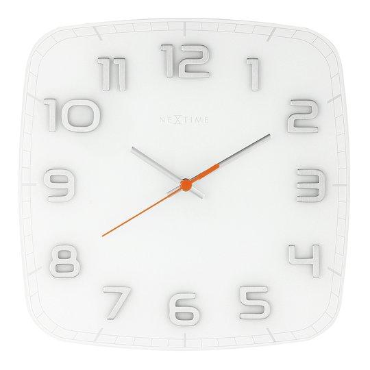 NeXtime - Classy Square Väggklocka 30 cm Vit/Gla