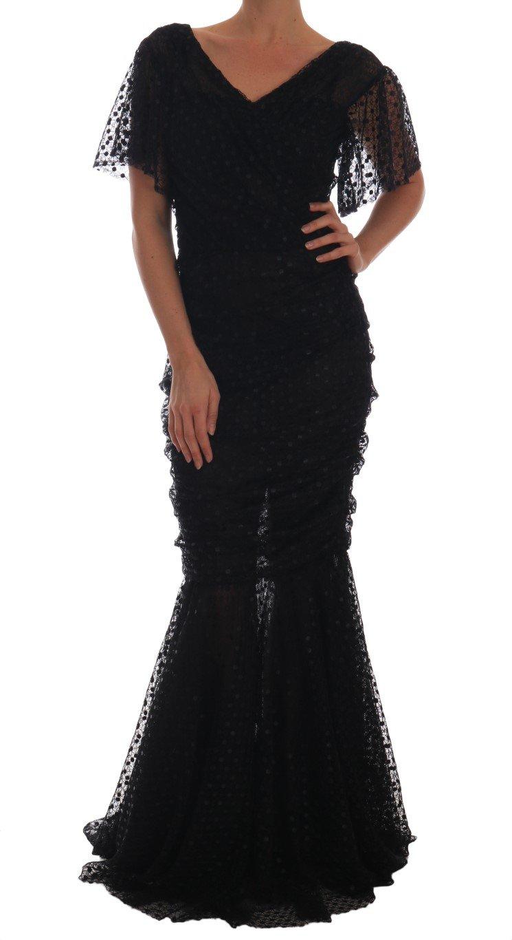 Dolce & Gabbana Women's Sheath Flare Long Gown Black DR1405 - IT42|M