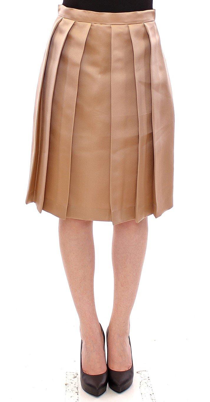 Andrea Incontri Women's Silk Solid Mini Pleated Skirt Brown GSS10715 - IT44 L