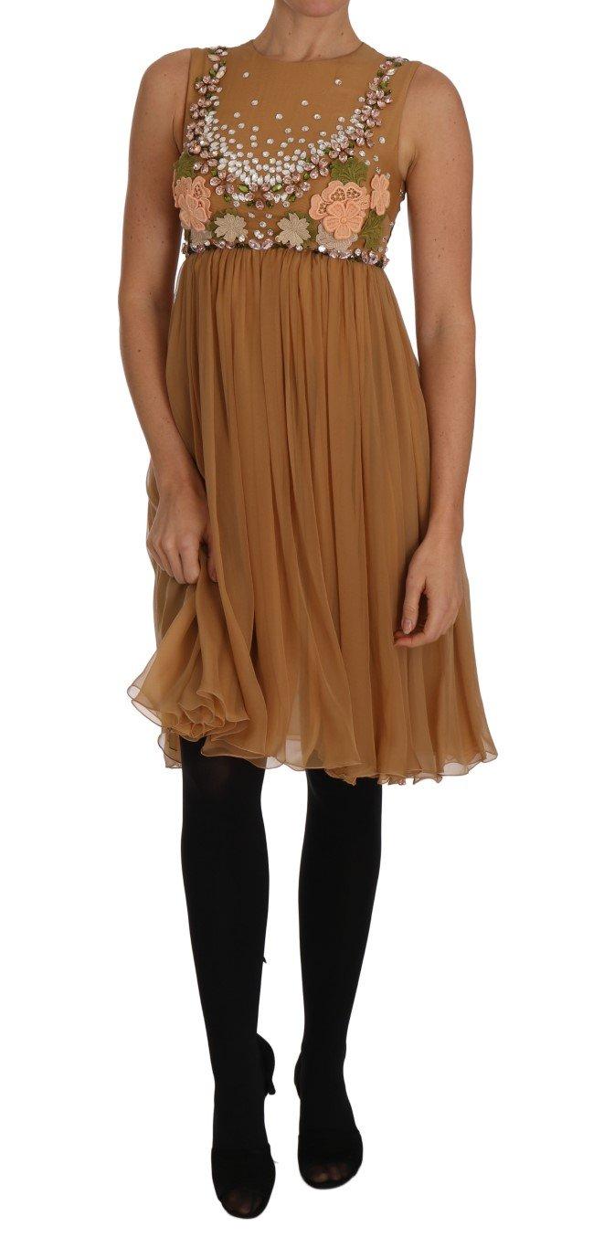 Dolce & Gabbana Women's Crystal Silk A-Line Gown Dress Gold DR1466 - IT40|S