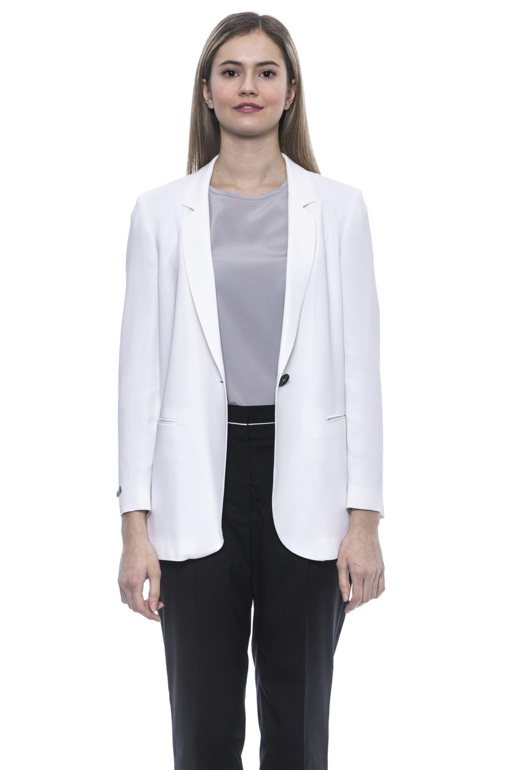 Peserico Women's Bianco Blazer White PE1381509 - IT42 | S