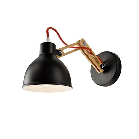 Vegglampe Skansen, justerbar trearm, svart