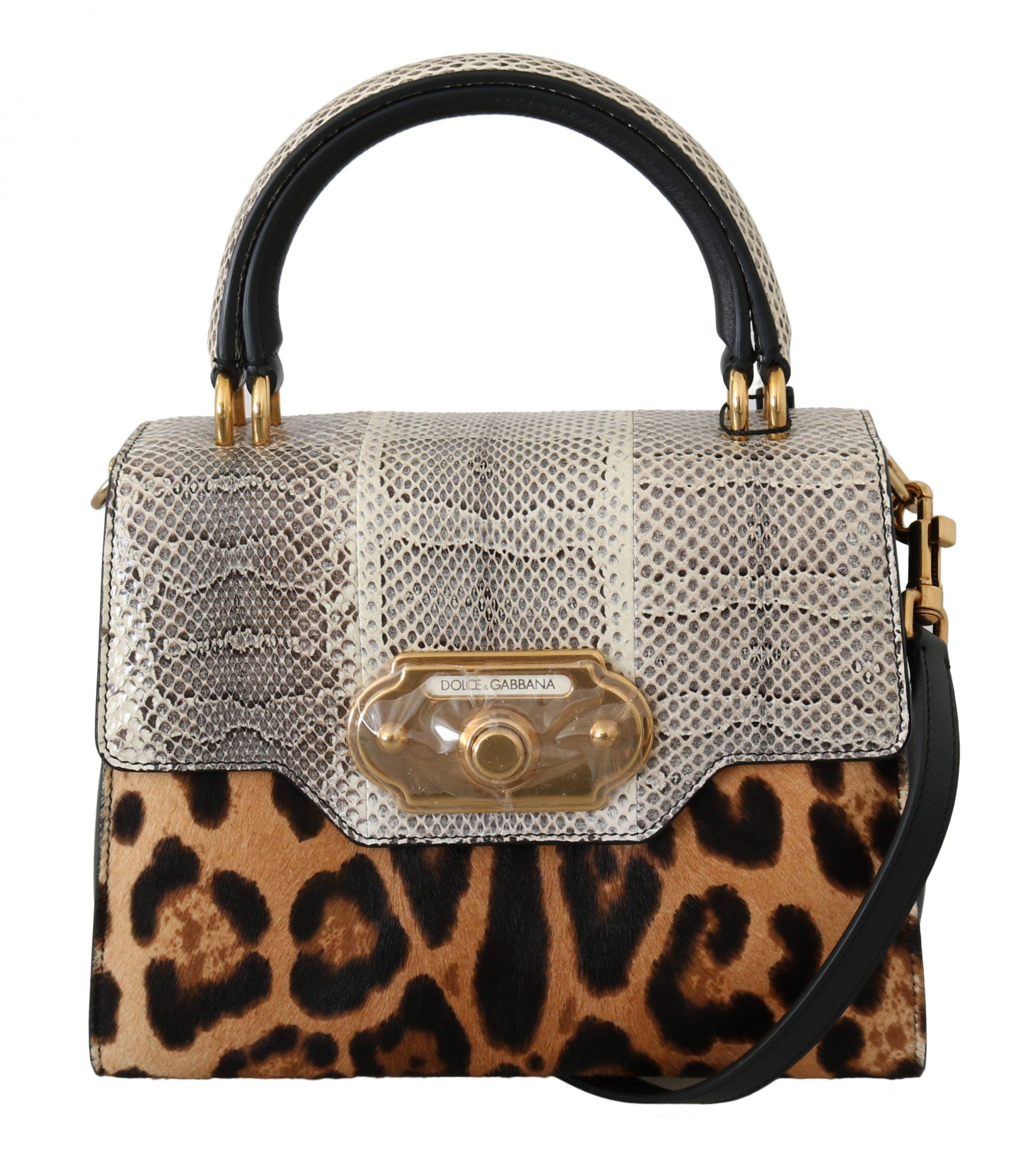 Dolce & Gabbana Women's Leopard Snakeskin Leopard Crossbody Bag Brown VA8846