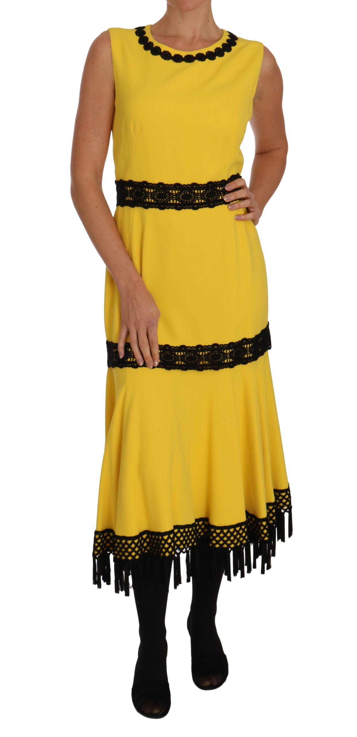 Dolce & Gabbana Women's Dress Floral Lace Fringes Sheath Dress Yellow DR1468 - IT46 | L