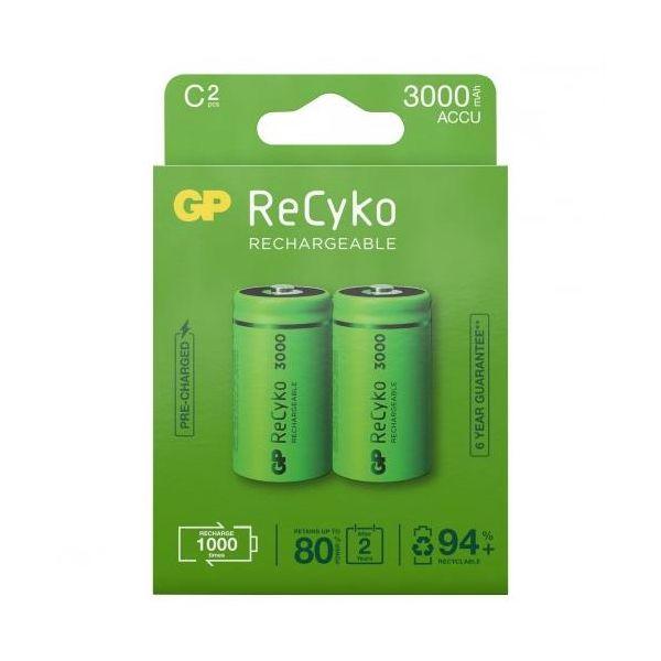 GP Batteries ReCyko 3000 Ladattavat paristot C, 2-pakkaus