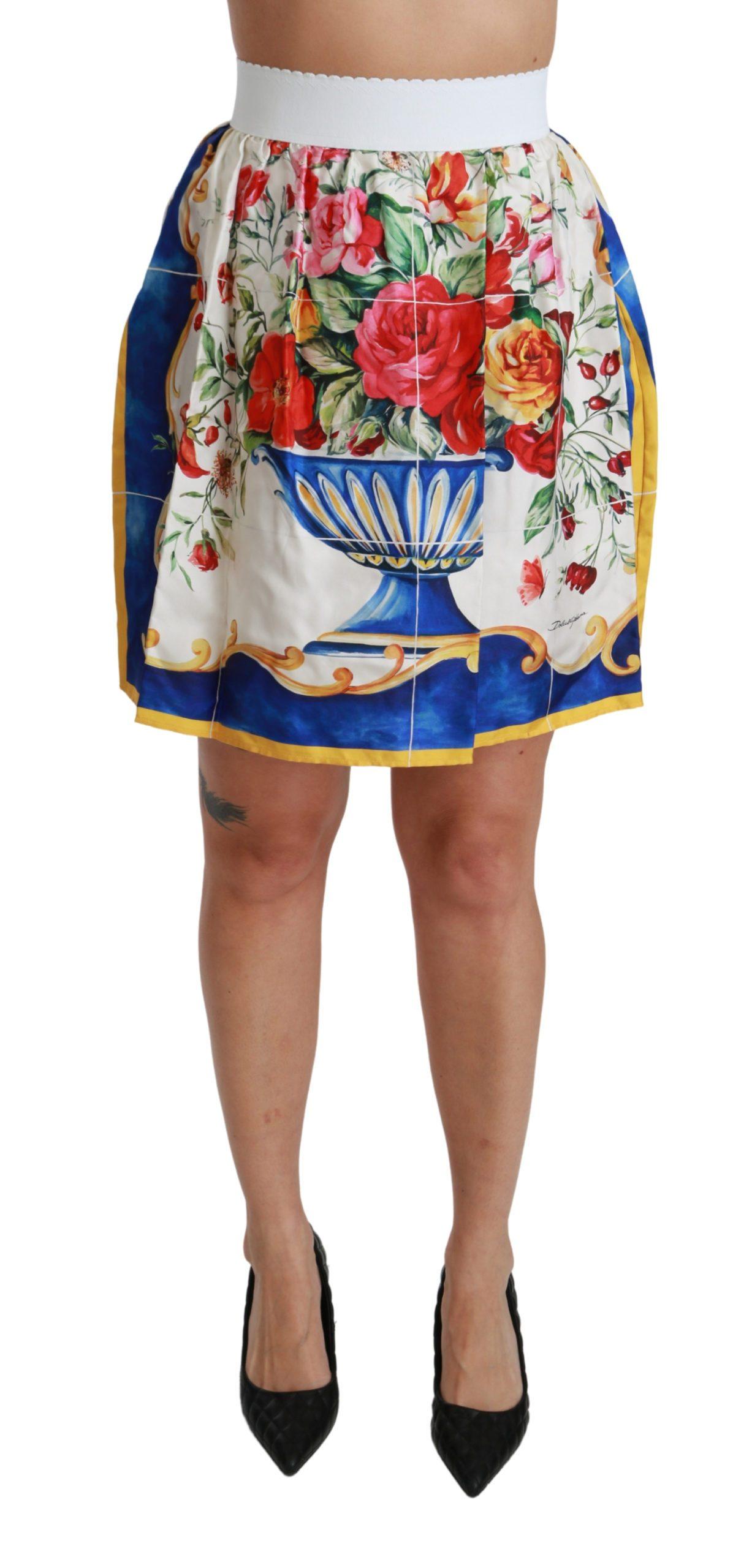 Dolce & Gabbana Women's Flower Vase High Waist Mini Skirt White SKI1409 - IT36 | XS