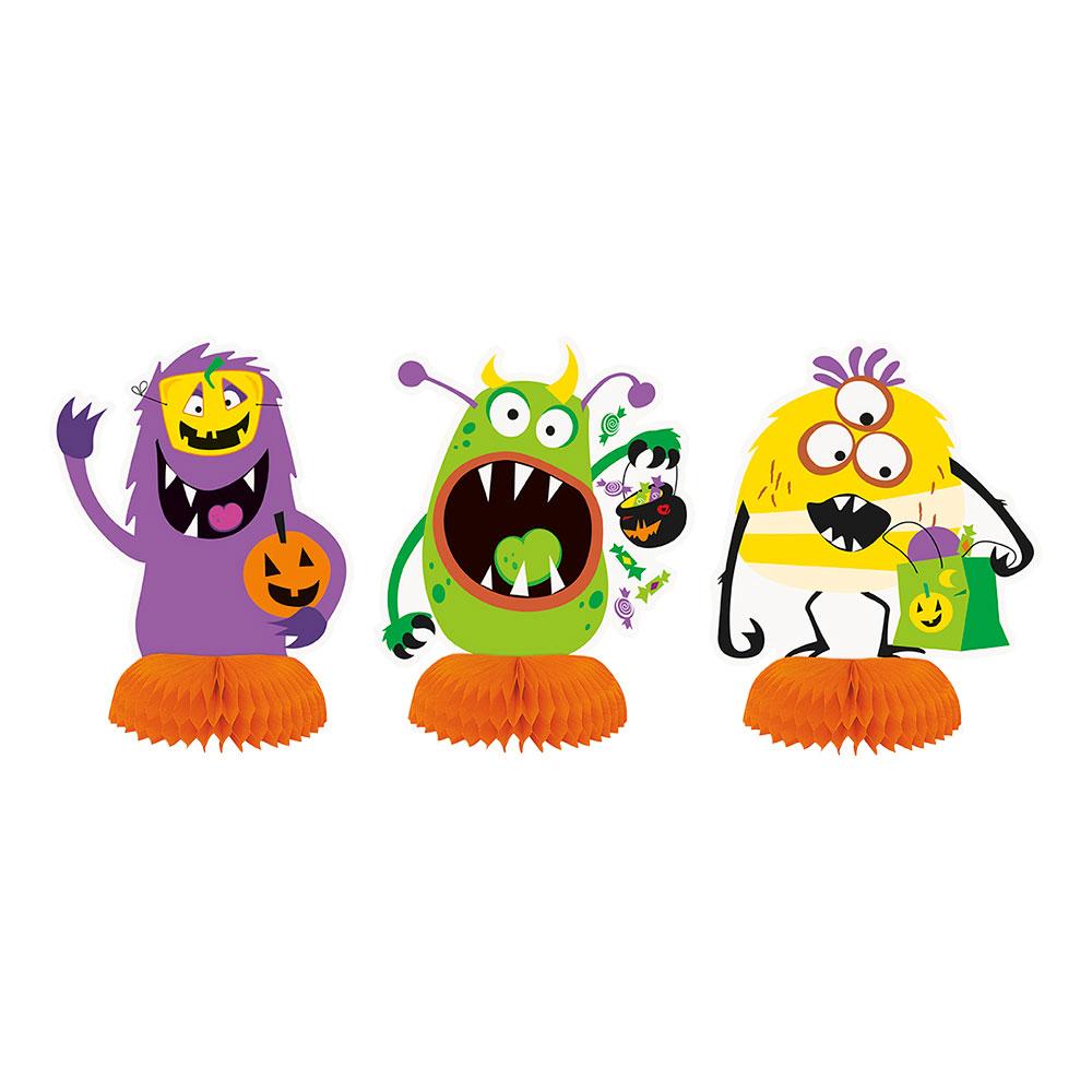 Bordsdekoration Halloweenmonster Honeycomb - 3-pack