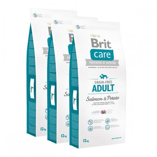 Brit Care Dog Adult Grain Free Salmon & Potato 3x12 kg