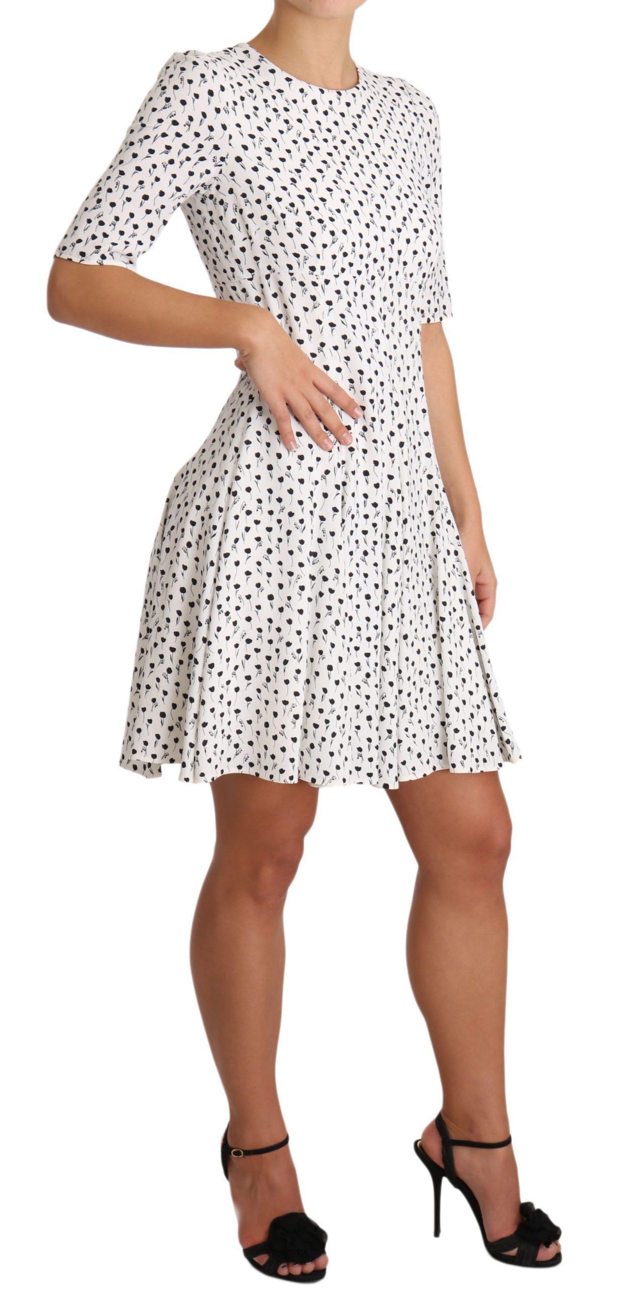 Dolce & Gabbana Women's Rose Print Rayon Mini Dress White DR1946 - IT42|M