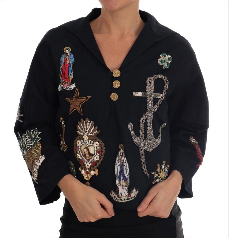 Dolce & Gabbana Women's Crystal MAMMA Sicily Jacket Blue JKT1120 - IT36 | S