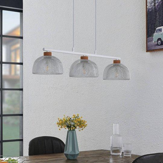 Lindby Louk hengelampe, 3 lyskilder, hvit