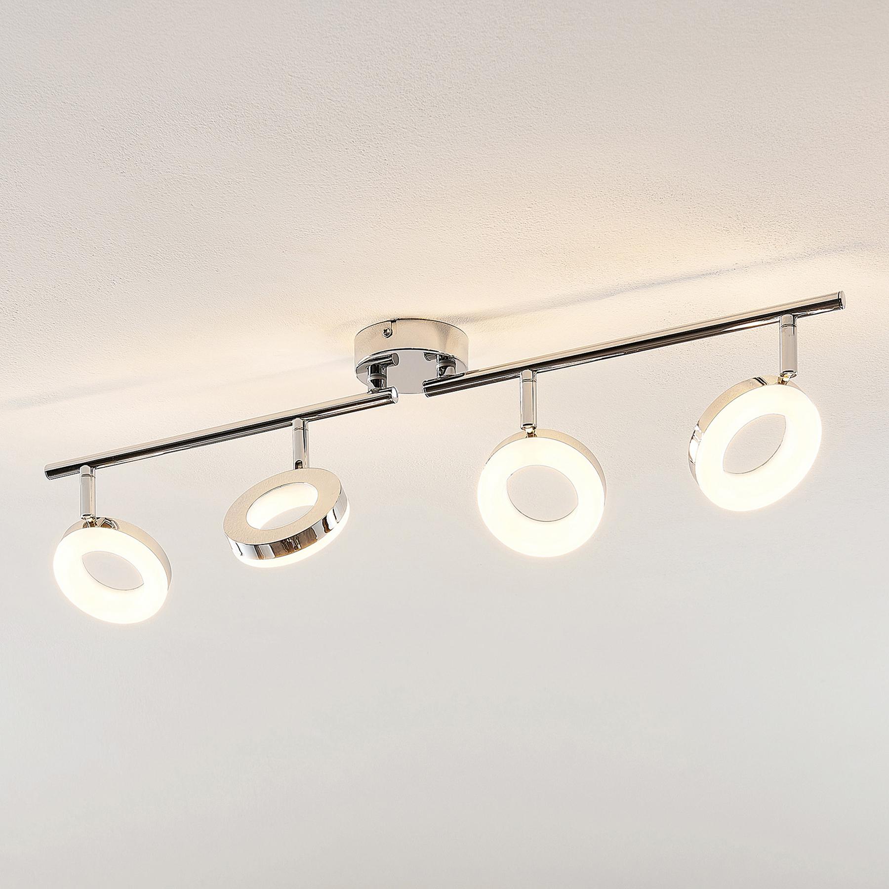 ELC Tioklia -LED-kattovalo, kromia, 4-lamppuinen