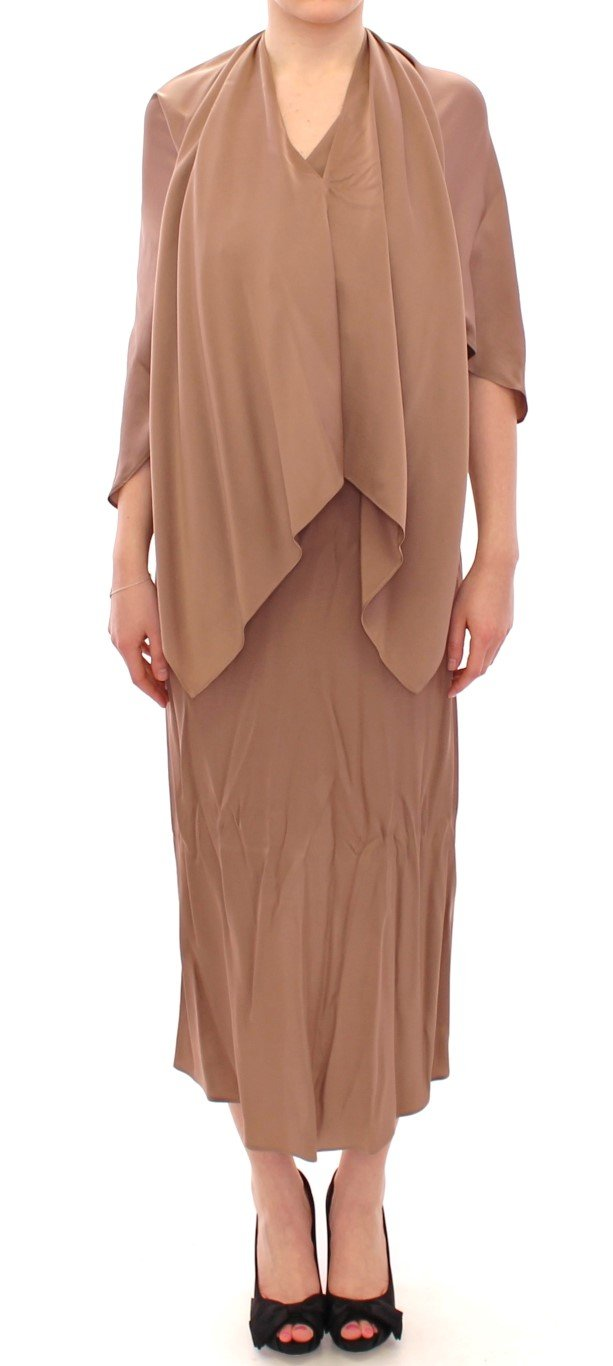 Lamberto Petri Women's Draped Silk Sheath Shift Dress Brown GSD12594 - IT44 L