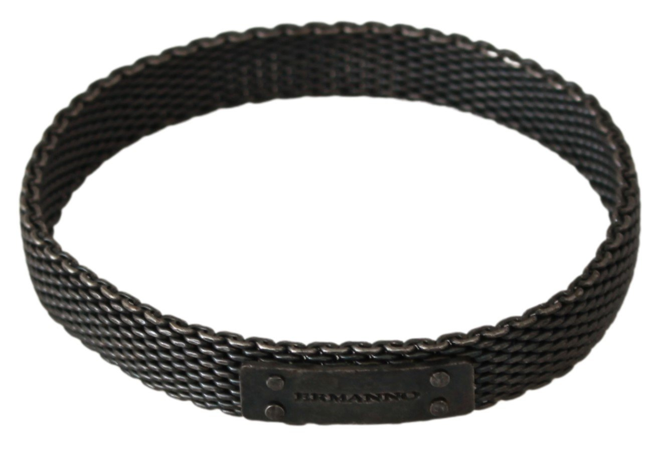 Ermanno Scervino Men's Branded Metal Steel Bracelet Silver SMY7005