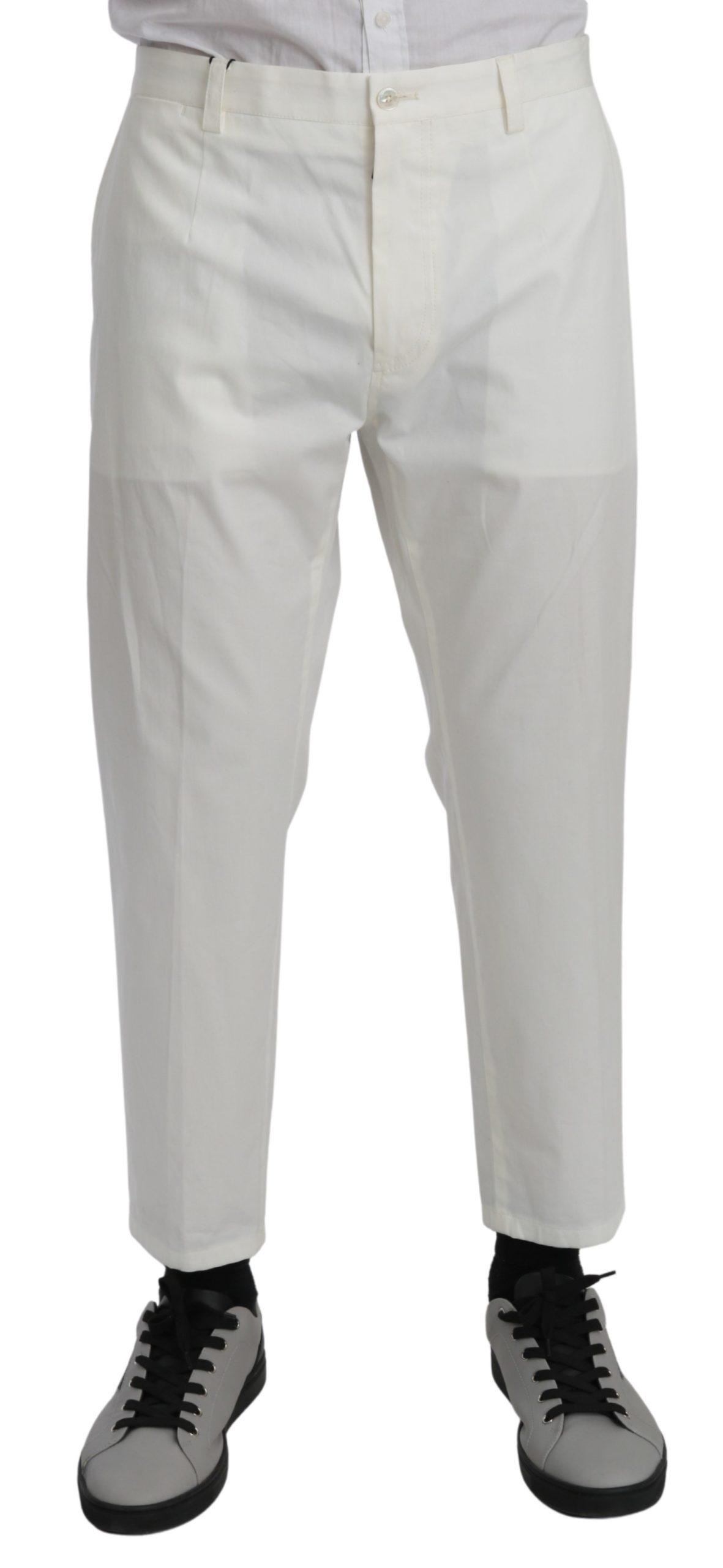 Dolce & Gabbana Men's Casual Cotton Stretch Trouser White PAN70962 - IT52 | XL