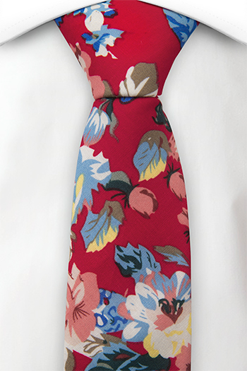 Bomull Smale Slips, Rød bakgrunn med gule, hvite og blå blomster, Rød, Blomster