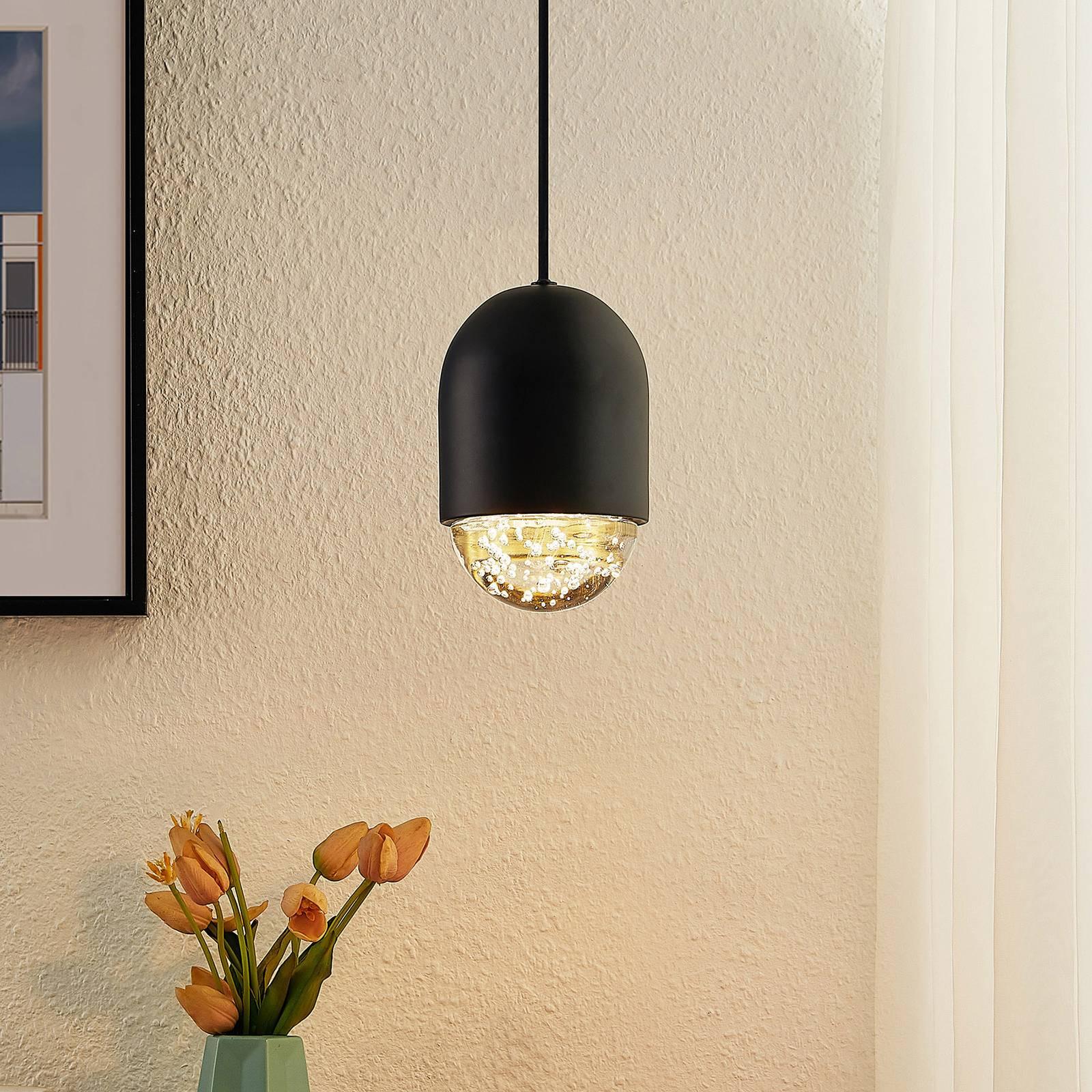 Lucande Amielle -riippuvalo, 1-lamppuinen, musta