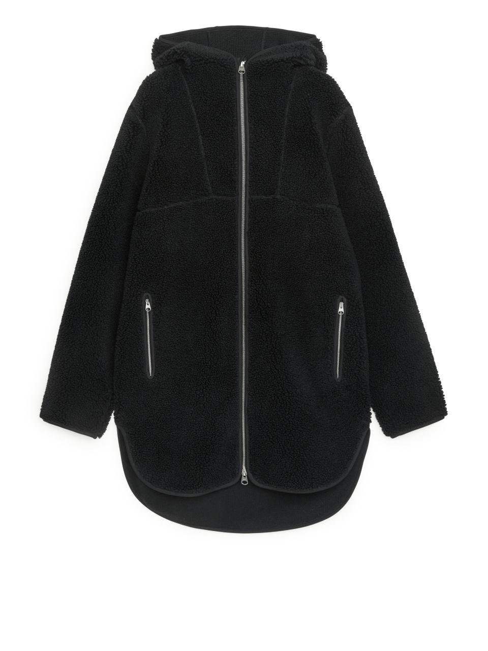 Hooded Pile Jacket - Black
