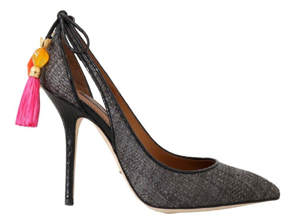 Dolce & Gabbana Women's Straw Leather Heel Gray LA4272 - EU35/US4.5