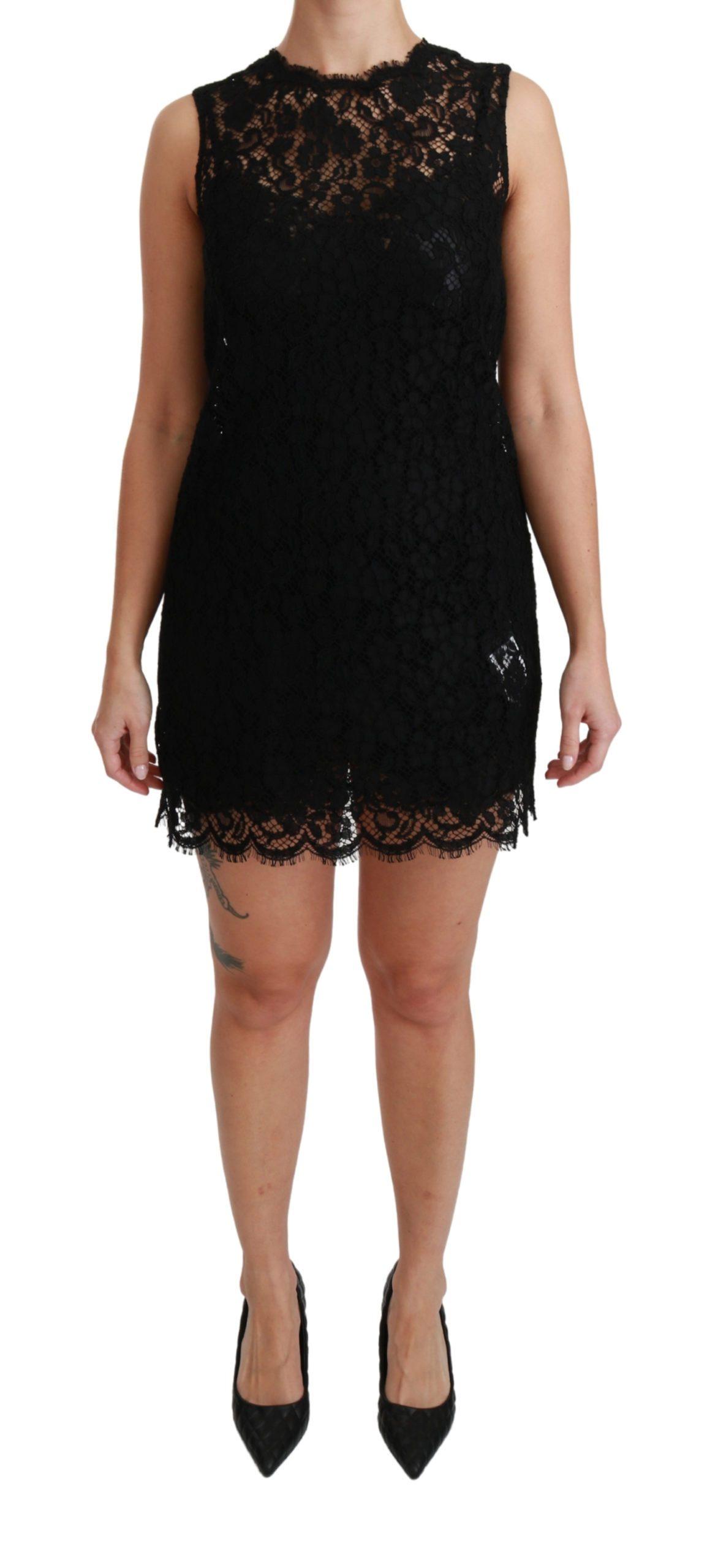 Dolce & Gabbana Women's Sleeveless Lace Cotton Mini Dress Black DR2505 - IT38 XS