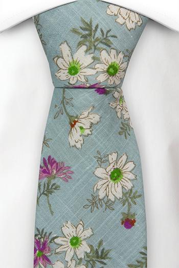Bomull Slips, Hvite & lilla blomster på turkis