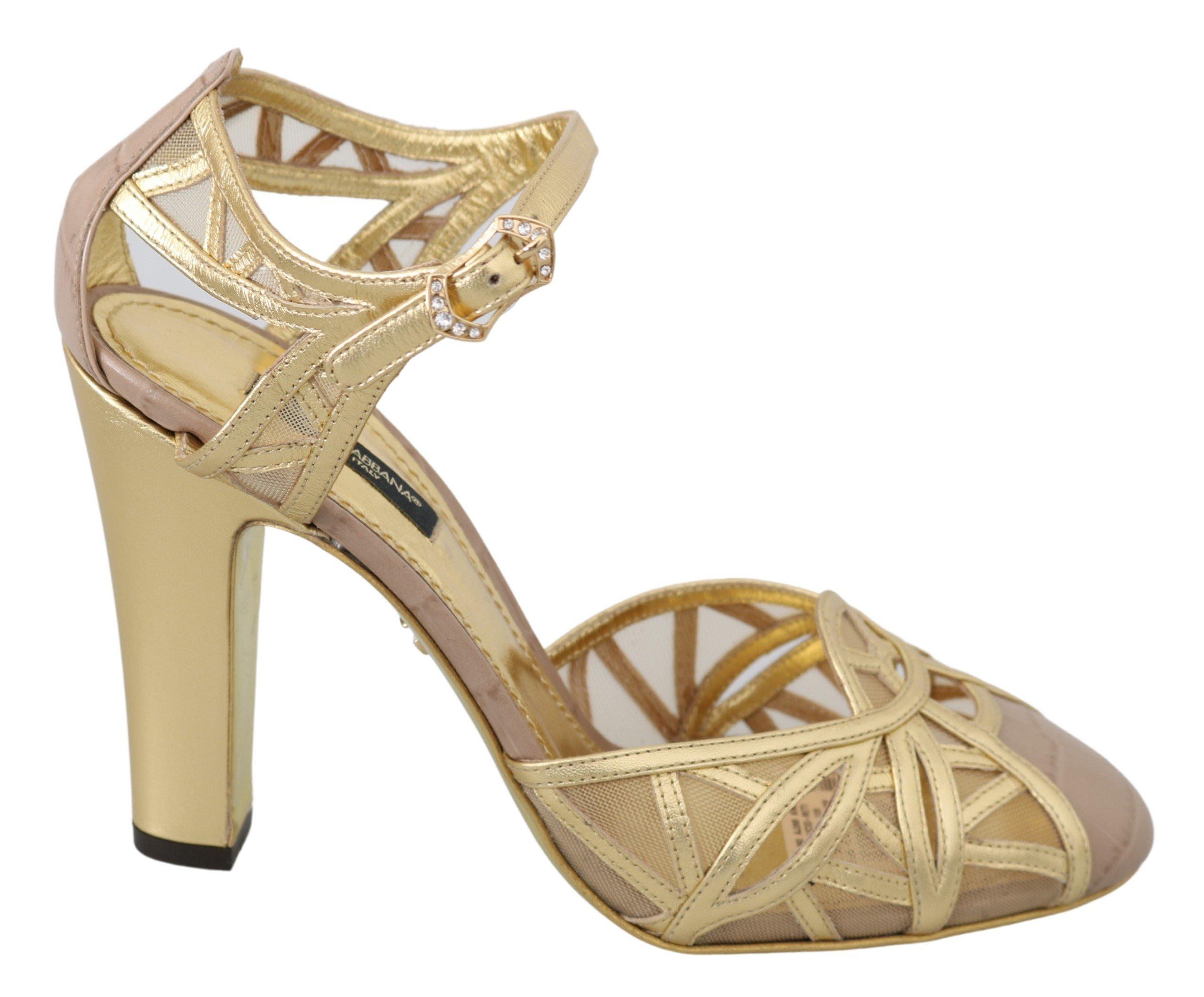 Dolce & Gabbana Women's Leather Ankle Strap Sandals Gold LA6806 - EU38/US7.5