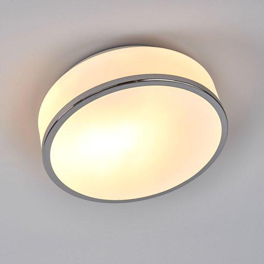 Flush-kattovalo, IP44, Ø 23 cm, satinoitu hopea