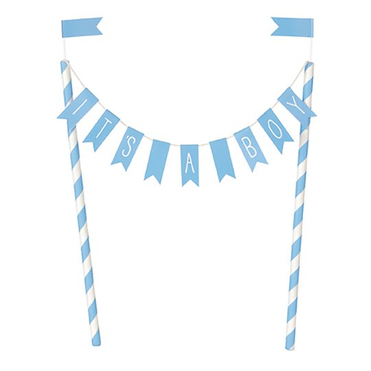 Tårtdekoration It´s A Boy Ljusblå Flaggor