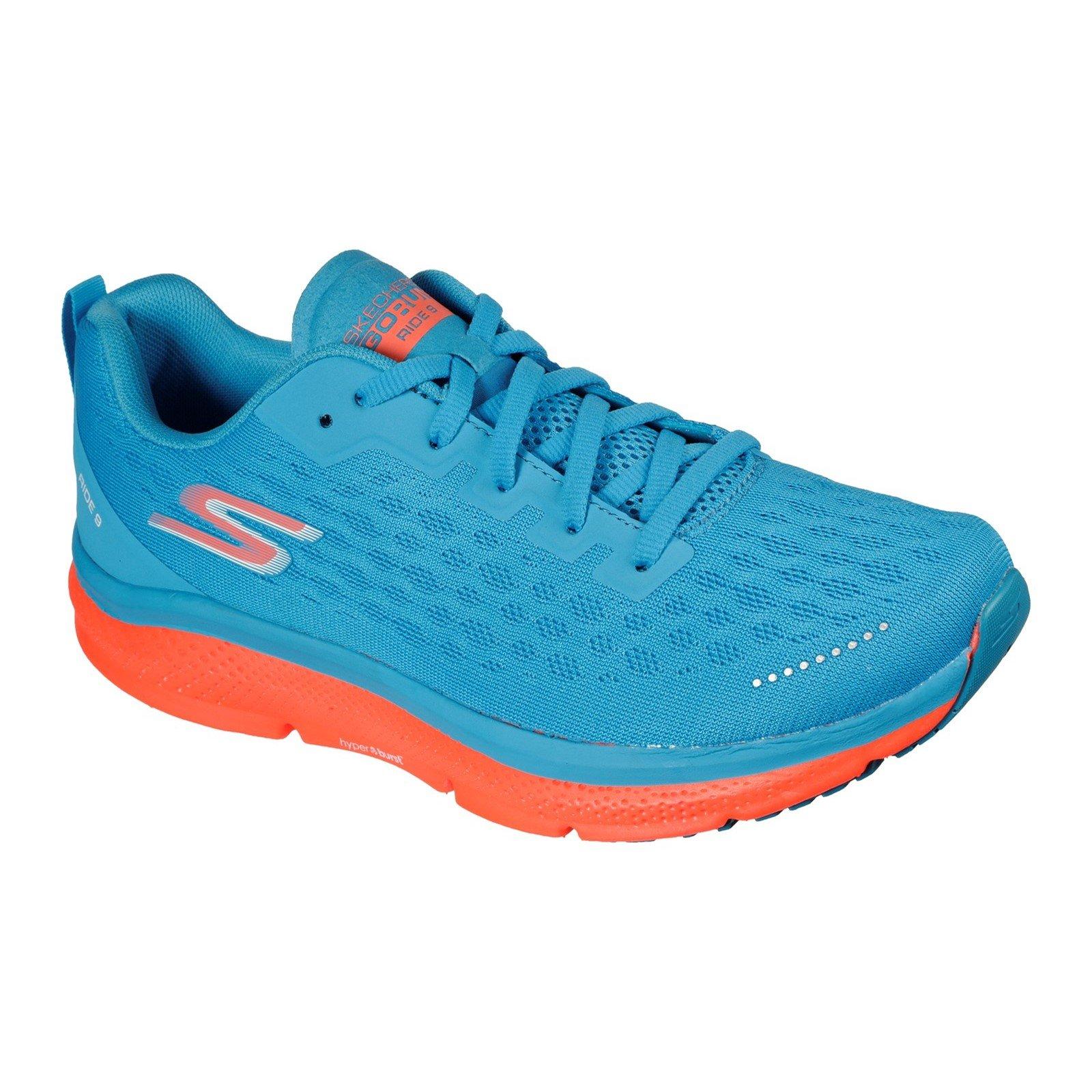 Skechers Men's Go Run Ride 9 Trainer Various Colours 32701 - Blue/Coral 8