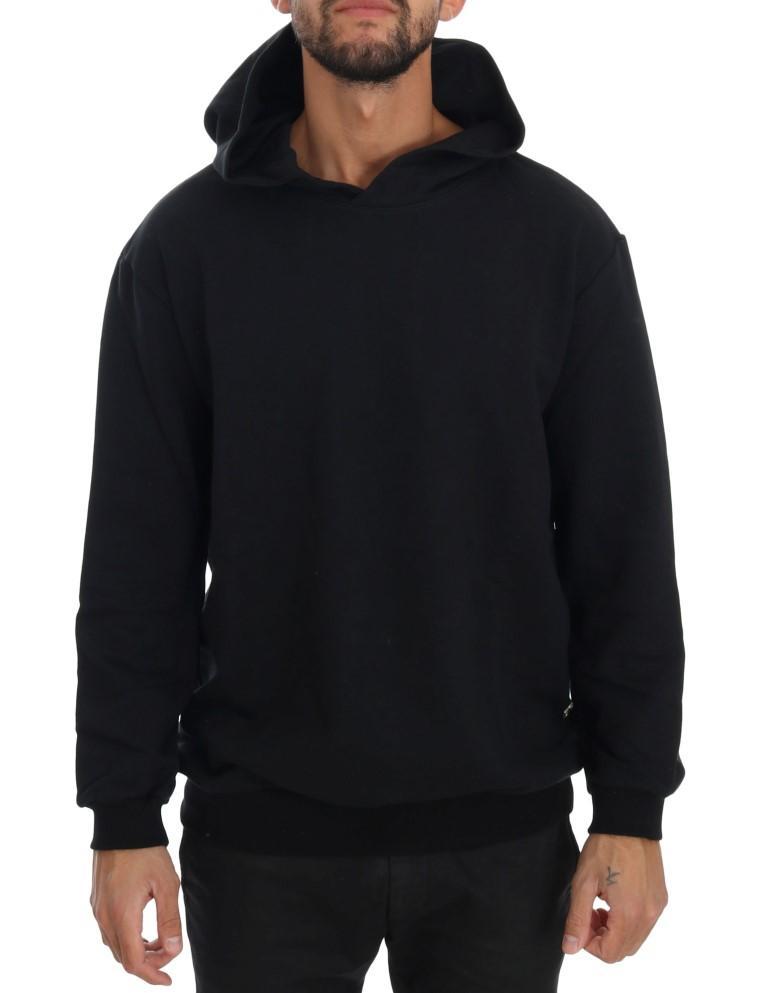 Daniele Alessandrini Men's Gym Casual Hooded Cotton Sweater Black TSH1503 - L