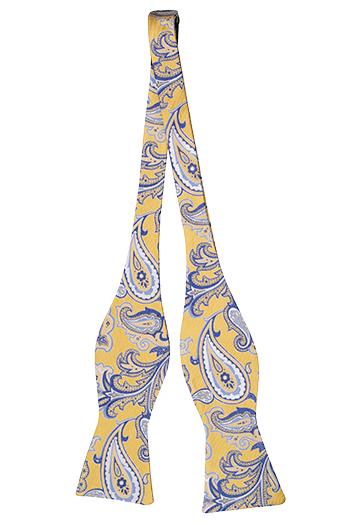 Silke Sløyfer Uknyttede, Stort gul og blå blomstermønster, nesten paisley