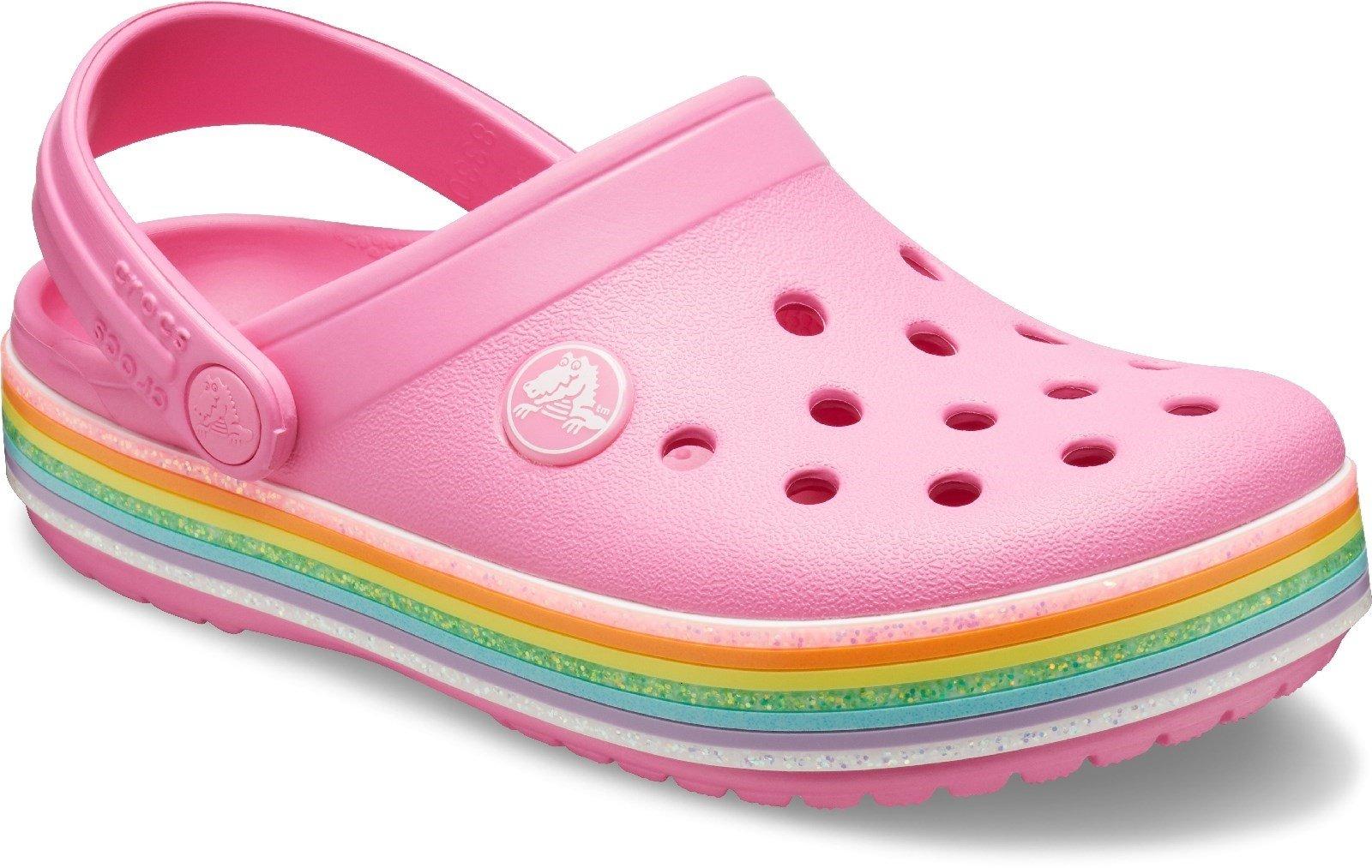 Crocs Kid's Rainbow Glitter Clog Various Colours 30711 - Pink Lemonade 4 UK