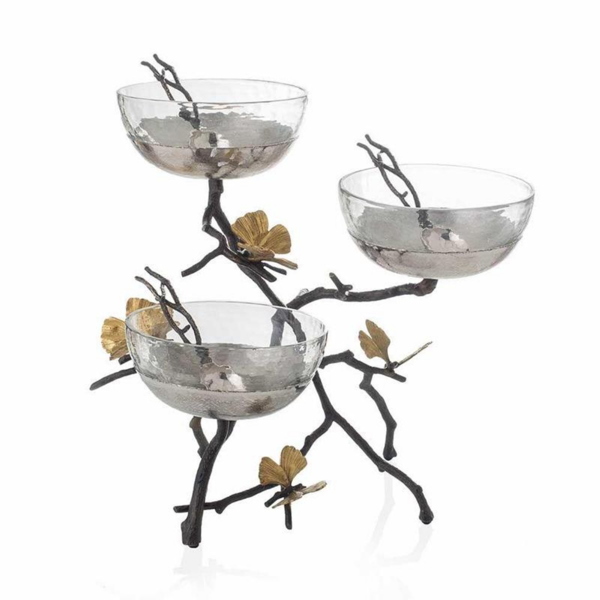 Michael Aram I Butterfly Ginkgo Triple Bowl Set W/ Spoons
