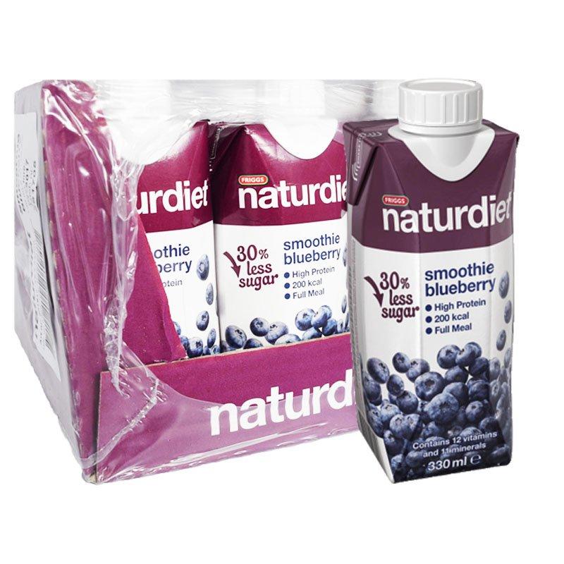 "Laatikollinen Ateriankorvike-smoothieita ""Blueberry"" 12 x 330ml - 47% alennus"