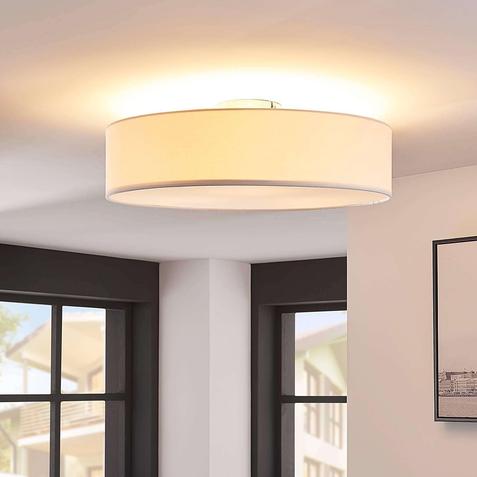 Valkoinen LED-kattovalaisin Sebatin, kangasta