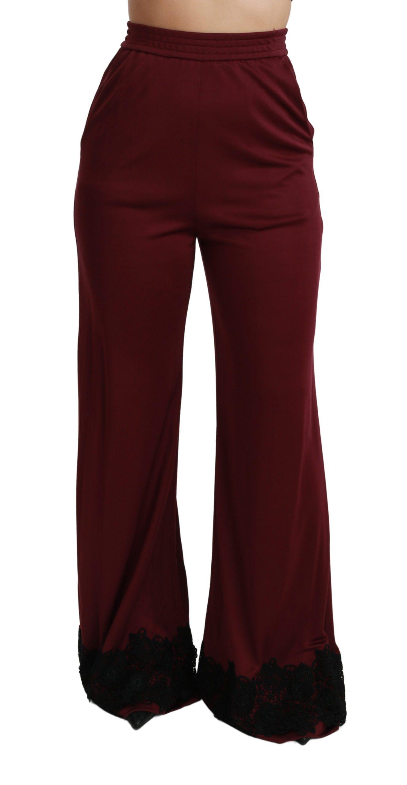 Dolce & Gabbana Women's Lace High Waist Trouser Bordeaux PAN70934 - IT40|S