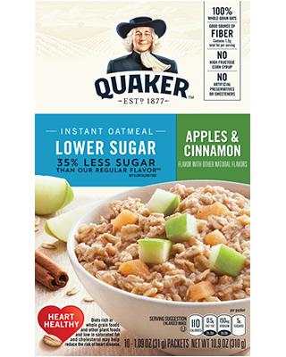 Quaker Instant Oatmeal Apples & Cinnamon Lower Sugar 310g