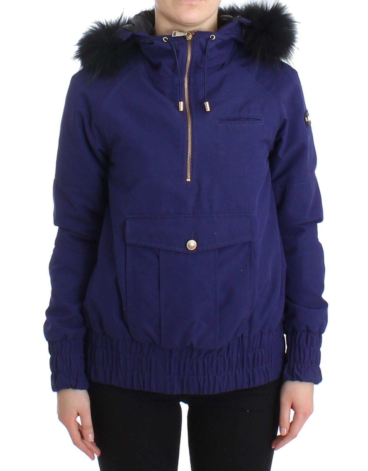 GF Ferre Women's Padded Hooded Short Jacket Blue SIG11604 - IT42
