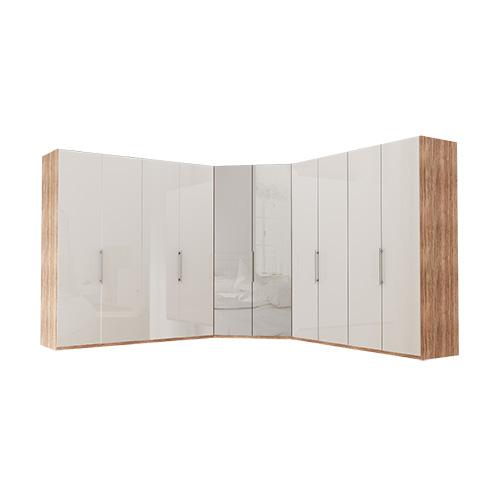 Garderobe Atlanta - Lys rustikk eik 200 + walk-in + 200, 236 cm