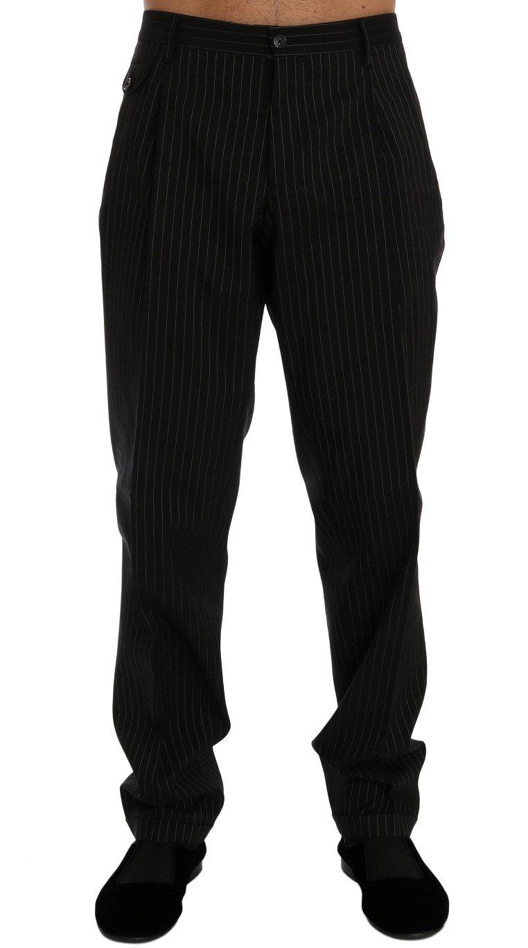 Dolce & Gabbana Men's Striped Cotton Dress Formal Trouser Black PAN60343 - IT52 | XL