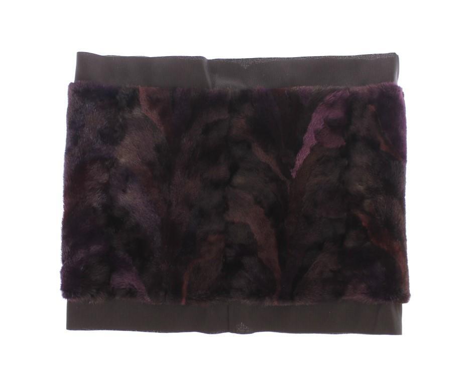 Dolce & Gabbana Women's MINK Fur Foulard Wrap Scarf Purple SDW10141