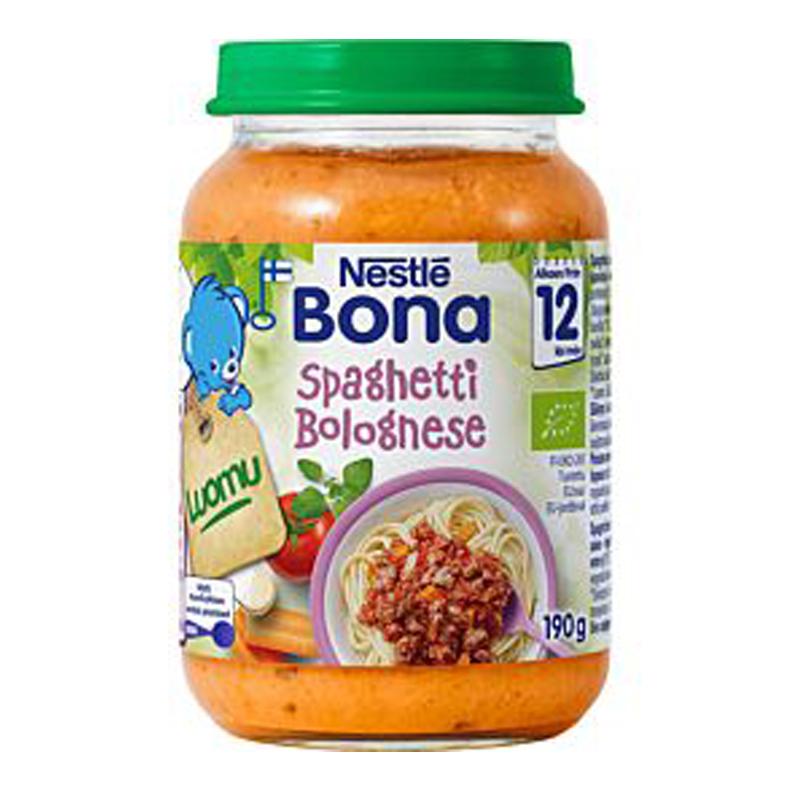 """Laatikollinen luomu lastenruokaa """"Spagetti Bolognese"""" 8 x 190g - 7% alennus"""