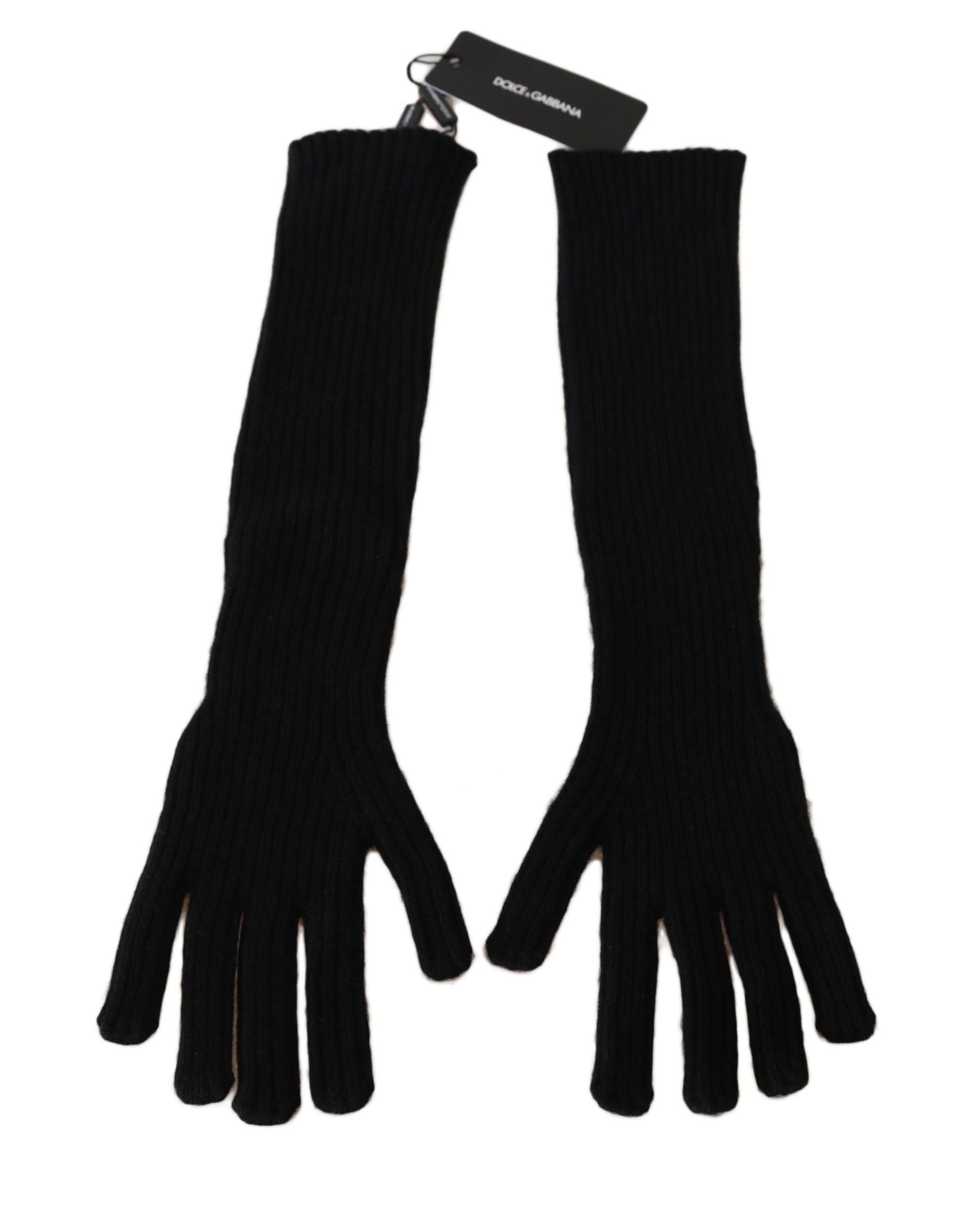 Dolce & Gabbana Women's Cashmere Knitted Elbow Length Gloves Black LB252 - 9,5|L