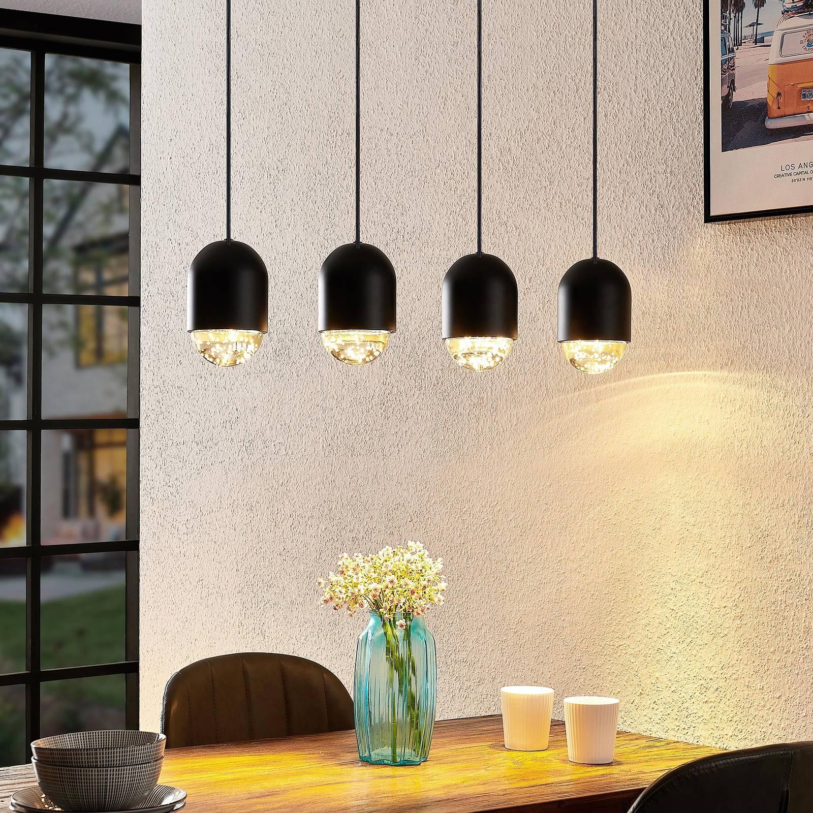 Lucande Amielle -riippuvalo, 4-lamppuinen, musta