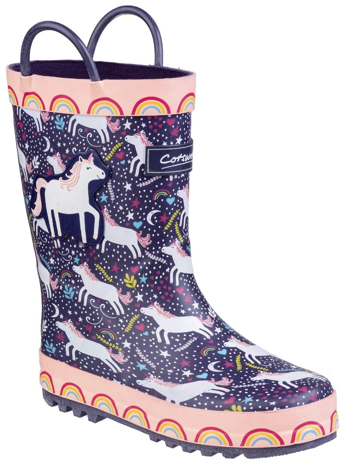 Cotswold Kids Sprinkle Junior Wellington Boot 27178 - Purple/Pink & White 6