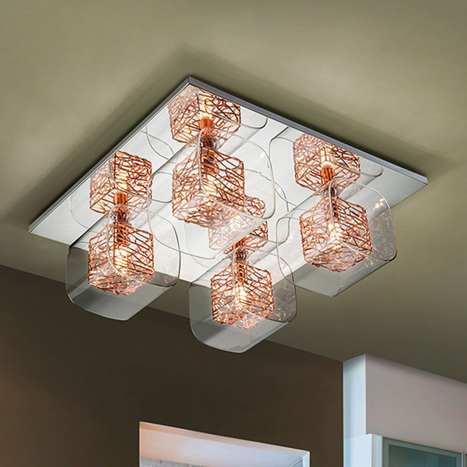 LED-taklampe Lios med 4 dobbeltskjermer