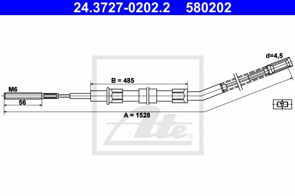 Cable, parking brake ATE 24.3727-0202.2