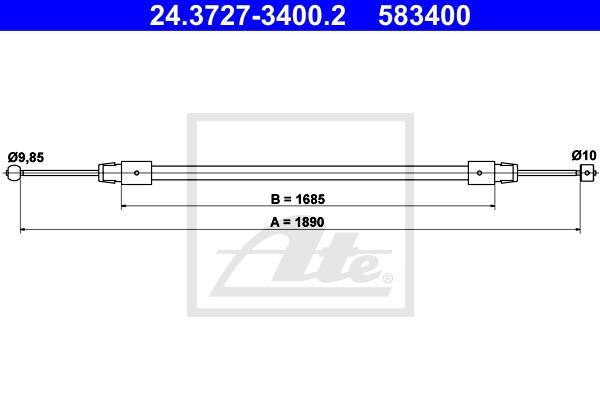 Käsijarruvaijeri ATE 24.3727-3400.2